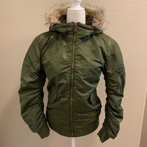 NWOT L.O.G.G. Army Puffer Bomber Jacket Fur Hoodie